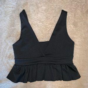 Black cropped tank top